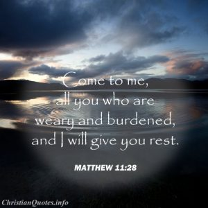 Matthew 11:28 Scripture - Rest from Burden - ripples in the water